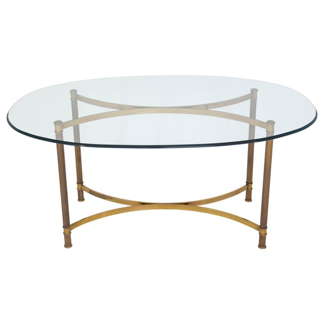 Oval Brass & Glass Dining Table - Image 2 of 9