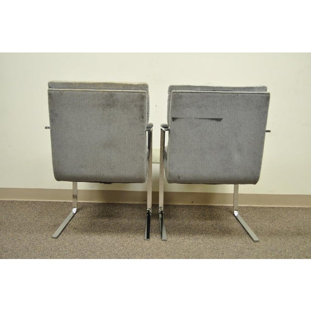 Gray Pair Vintage Mid Century Modern Chrome Steel Cantilever Arm Chairs Baughman Style For Sale - Image 8 of 11