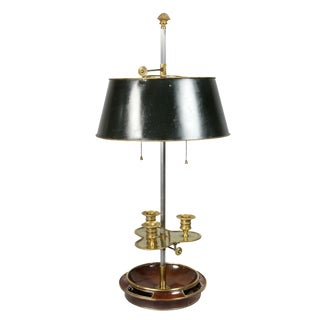 Louis XVI Style Mahogany and Brass Bouillotte Lamp by Maison Jansen For Sale