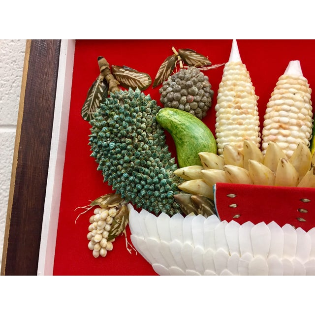 Vintage Folk Art Seashell Fruit Basket Painting in Frame For Sale In Raleigh - Image 6 of 11