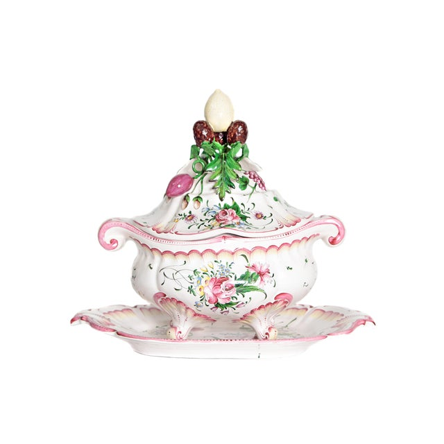 A Large French Faience Tureen With Platter For Sale - Image 11 of 11