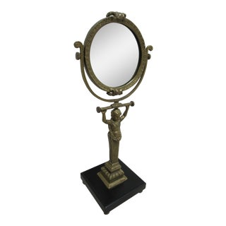 Vintage Spanish Brass Figural Carved Shaving Vanity Mirror For Sale