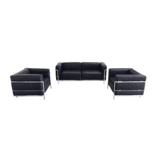 Le Corbusier Black Leather Sofa & Club Chairs by Cassina, Signed