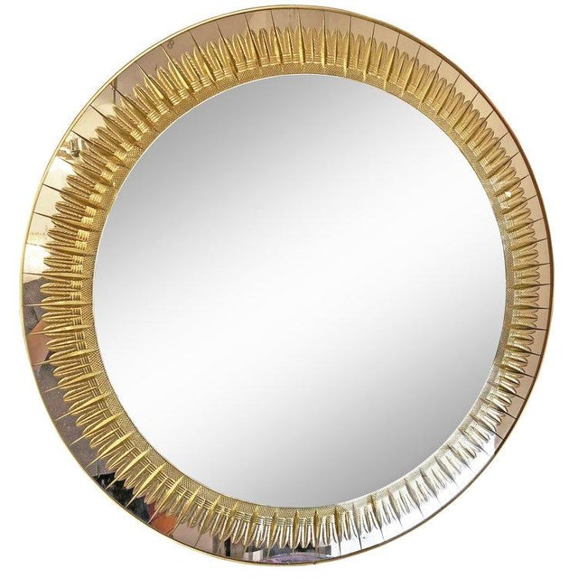 1960s 1960s Italian Large Round Cristal Art Mirror For Sale - Image 5 of 5