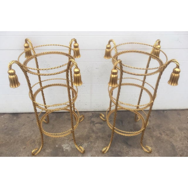 Hollywood Regency Style Gilt Metal Stands - A Pair For Sale - Image 5 of 5