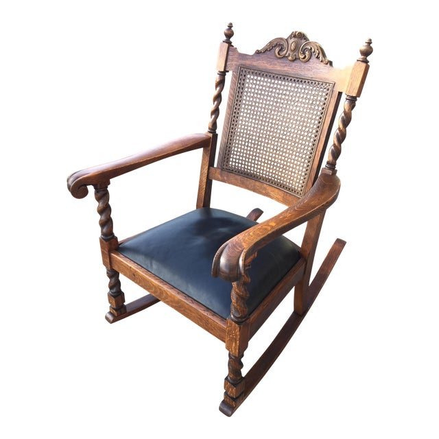 Antique Leather Cane Rocking Chair For Sale - Antique Leather Cane Rocking Chair Chairish