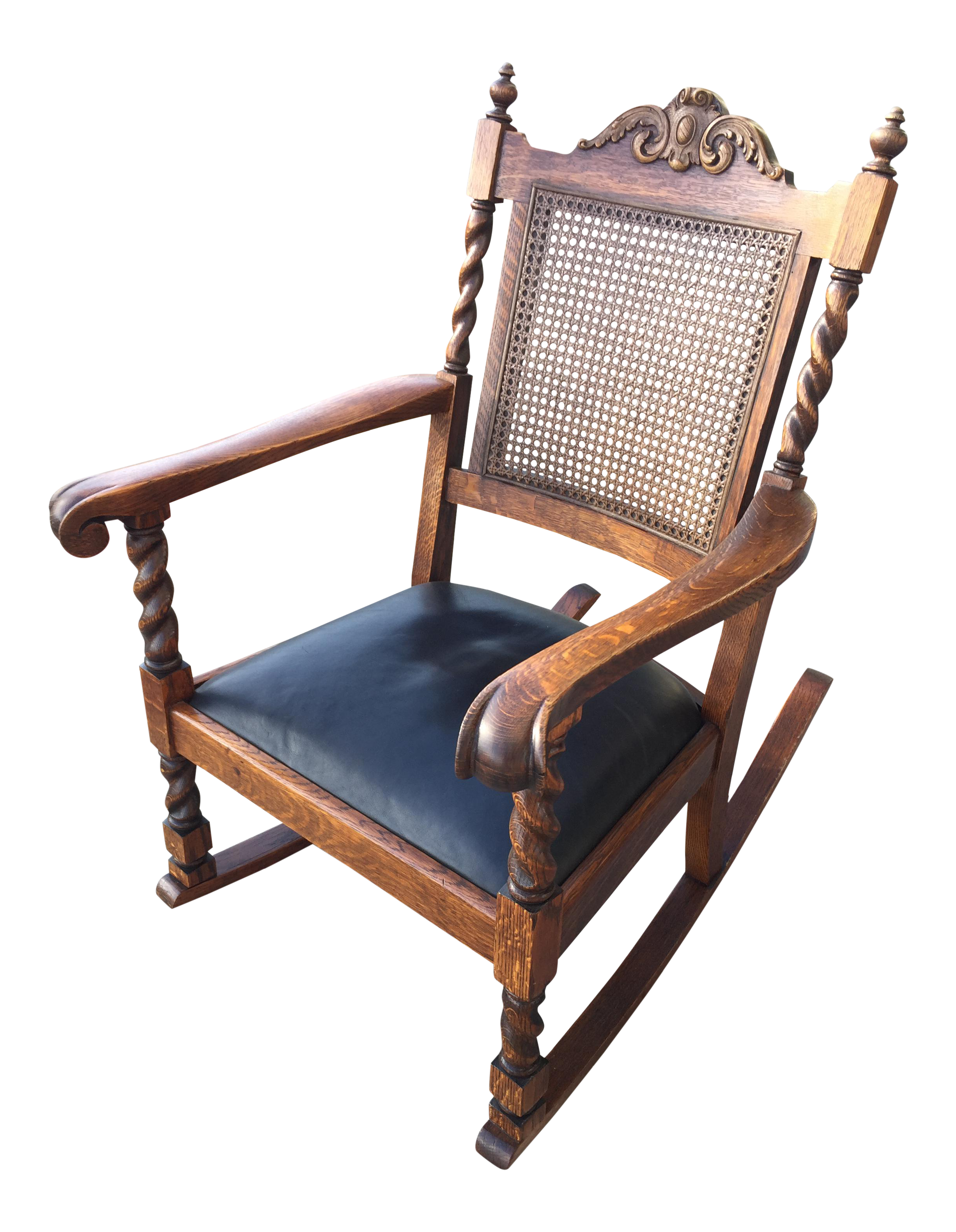 Antique Leather Cane Rocking Chair