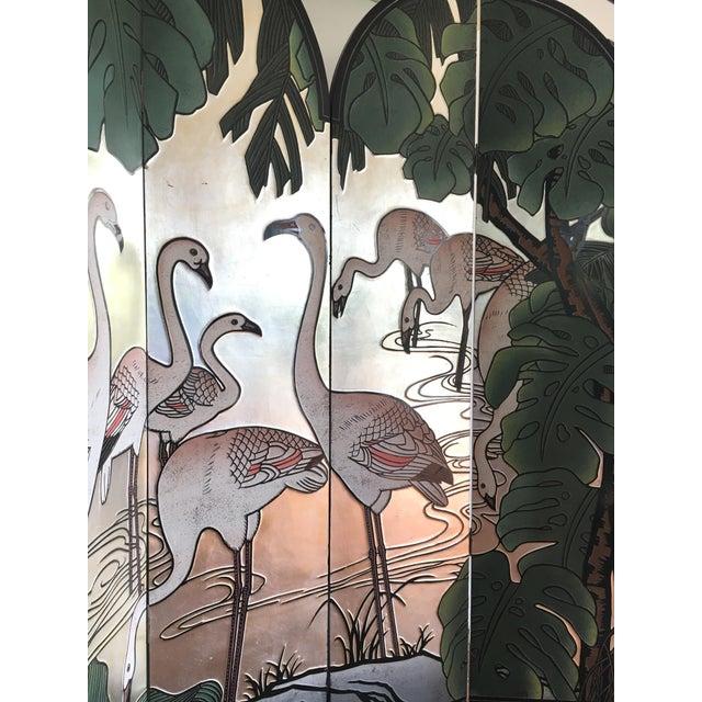 Brass Vintage Japanese Silver Leafed Room Divider For Sale - Image 7 of 12