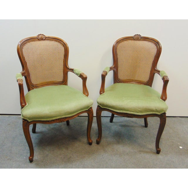Brown Drexel Louis XV Style Carved Fruitwood Caned Arm Chairs - a Pair For Sale - Image 8 of 8
