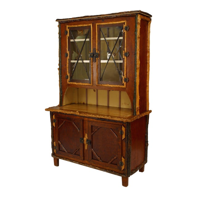 American Rustic Adirondack Style Painted Four-Door Cupboard, 19th-20th Century For Sale