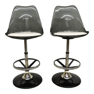 1970s Vintage Smoked Lucite Swivel Barstools - A Pair For Sale