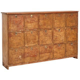 1880s English Pigeon Hole Cabinet With Drop-Down Doors For Sale