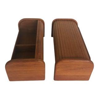 1970s Mid Century Modern Teak Tambour Storage Boxes - Set of 2 For Sale