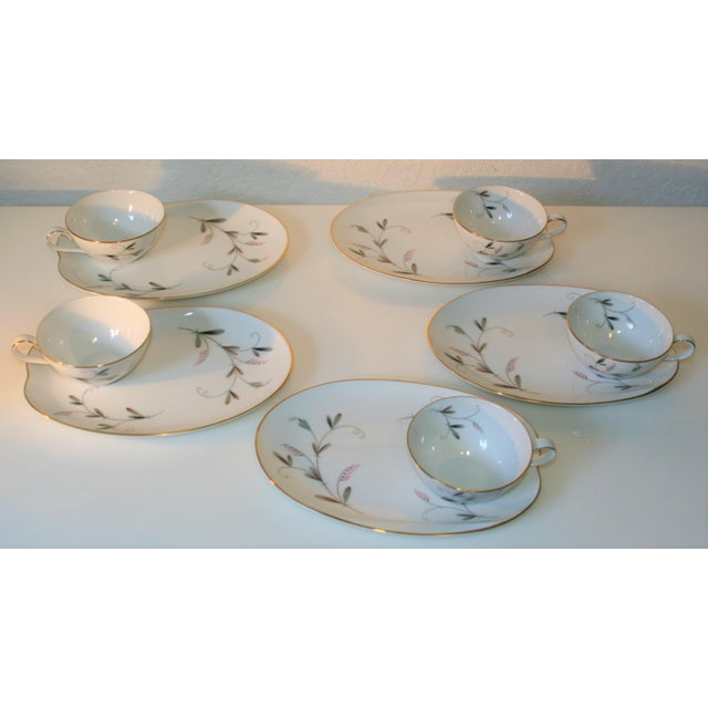 Noritake Vintage Noritake China Oval Snack Plates With Cups - 10 Pc. Set For Sale - Image 4 of 9