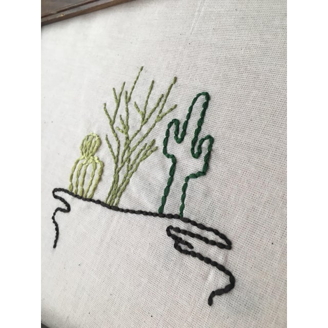 Antique Framed Cactus Embroidered Art - Image 3 of 6
