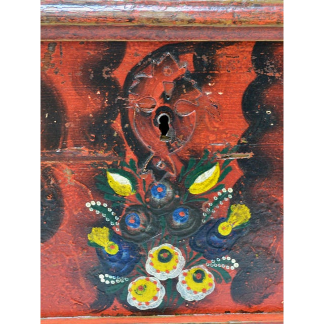 Metal Hungarian Pine Trunk or Blanket Chest in Original Paint For Sale - Image 7 of 13