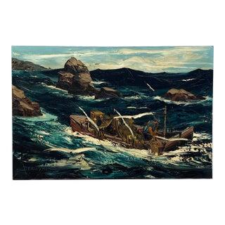 Vintage Laguna California Lobster Fishing Seascape Oil Painting For Sale