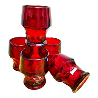 Vintage Ruby Red Water or Wine Goblets-Set of Five For Sale