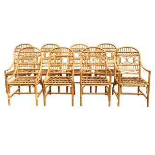 Chinese Chippendale Brighton Rattan Dining Chairs - Set of 8 For Sale