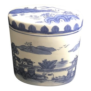 Late 20th Century Chinoiserie Blue Covered Oval Ceramic Box