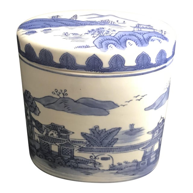 Late 20th Century Chinoiserie Blue Covered Oval Ceramic Box For Sale