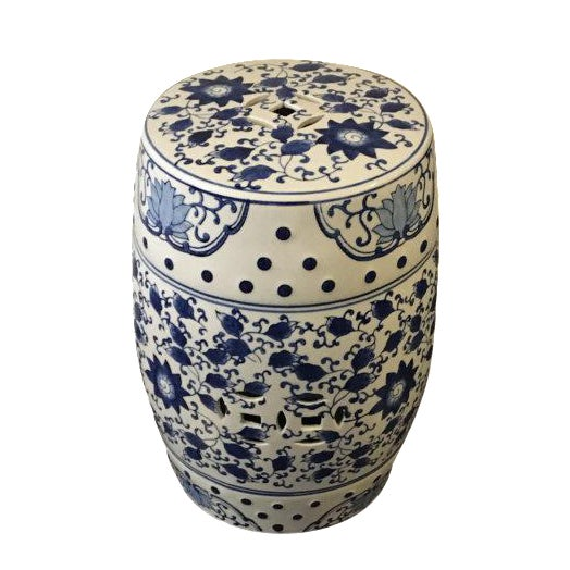 Blue and White Asian Garden Stool - Image 1 of 5