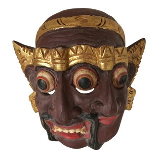Vintage Hand Carved and Painted Indonesian Two Faced Wooden Mask For Sale