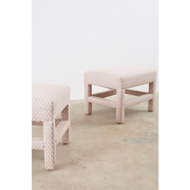Mid 20th Century Milo Baughman Style Parsons Ottoman Benches - a Pair For Sale - Image 5 of 12