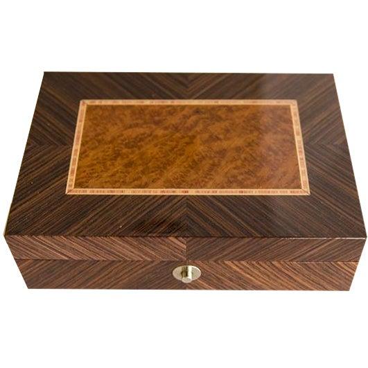 Ercolano Handmade Brown Wood Inlays Card Box - Image 1 of 4