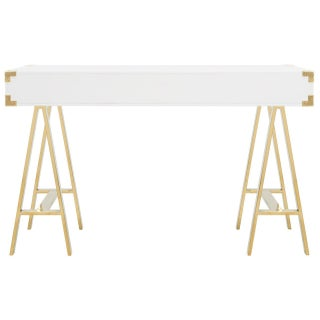 Pasargad Firenze Collection White Lacquer & Stainless Steel Desk Preview