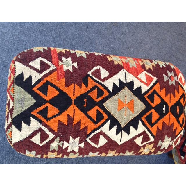 Boho Chic Kilim Covered Bench For Sale - Image 3 of 3