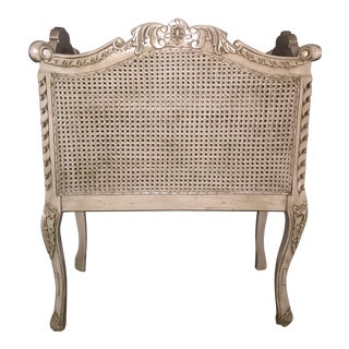 Vintage French Inspired Wood Caned Decorative Baby Crib Blanket Storage Receptacle For Sale