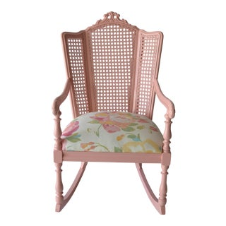 Vintage Pink Cane Rocking Chair For Sale