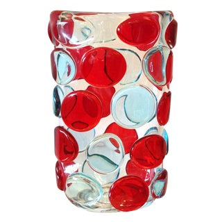 Murano Red and Blue Button Vases by Camozzo (2 Available) For Sale