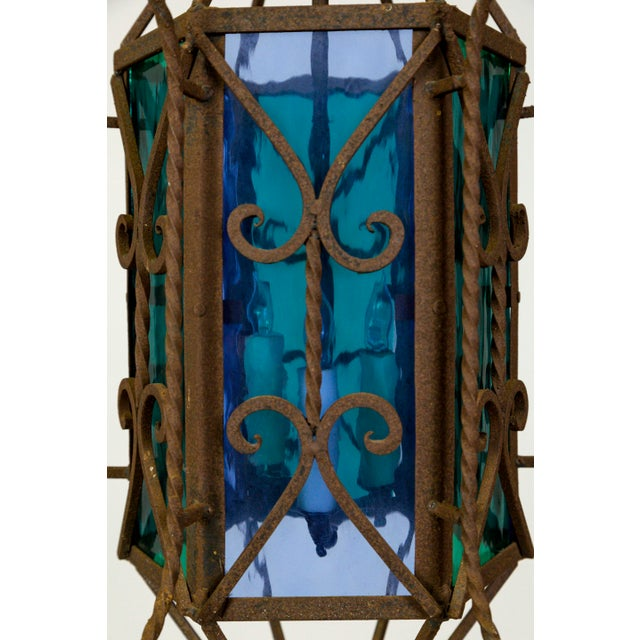 1920s 1920s Gothic Revival Lantern With Blue & Green Glass For Sale - Image 5 of 11