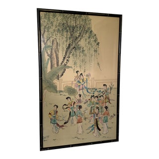 Vintage Chinese Silk Painting Framed in Faux Bamboo For Sale