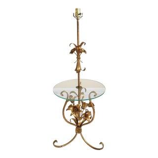 Hollywood Regency Gilded Italian Tole Floor Lamp