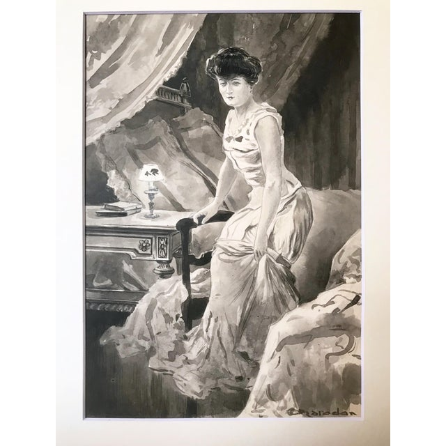 An original Victorian Era illustration of a woman in her boudoir. Signed lower right. Presented matted and in a gilt wood...