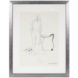Alysanne McGaffey 1960's Figure With Vase and Animal Skull in Graphite 1950-1960s For Sale