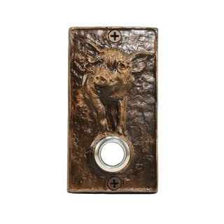 Rectangle Pig Doorbell with Traditional Patina For Sale