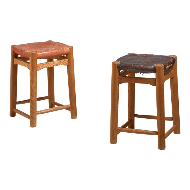 Pair oak stools with leather seatpad, France, 1950s For Sale