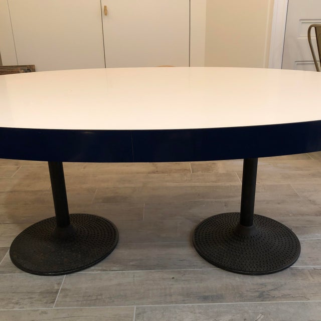 Contemporary Contemporary ICF Blue & White Oval Table With Metal Base For Sale - Image 3 of 13