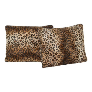 Faux Cheetah Print Pillows - a Pair For Sale