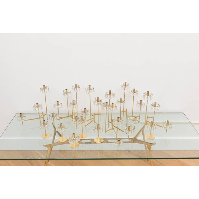 Contemporary J. & L. Lobmeyr Brass and Swarovski Crystal Candlesticks - 15 Pc. For Sale - Image 3 of 11