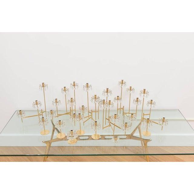 Contemporary J. & L. Lobmeyr Brass and Swarovski Crystal Candlesticks - 15 Piece For Sale - Image 3 of 11