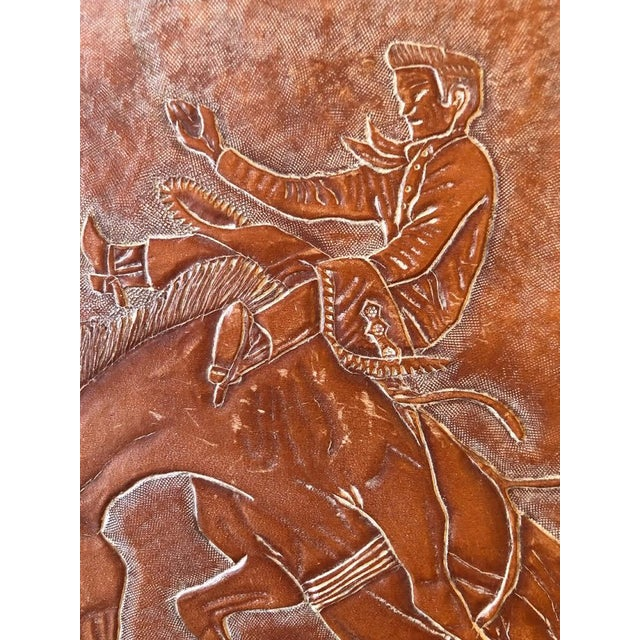 1960s Leather Tooled Cowboy Plaque For Sale - Image 5 of 9