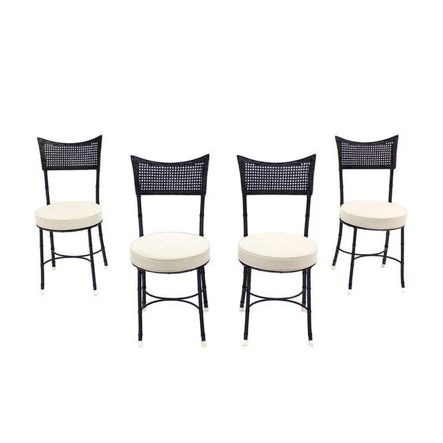 Cast Aluminum Faux Bamboo and Cane Round Seat Chairs - Set of 4 For Sale - Image 10 of 11
