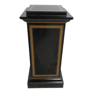 Maitland Smith Black Ebonized Lamp End Table Pedestal Cabinet For Sale