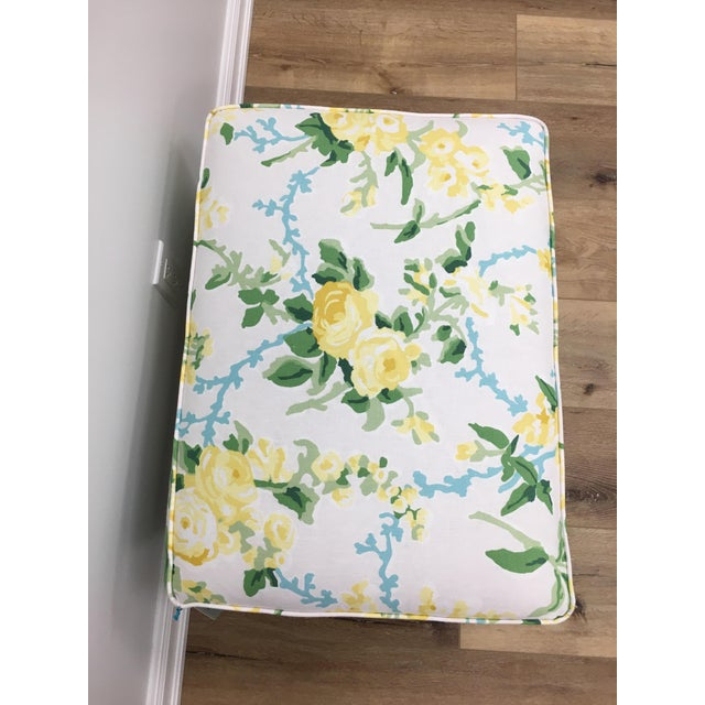 Transitional Sky Blue and White Floral Cottonwood Ottoman For Sale In West Palm - Image 6 of 7