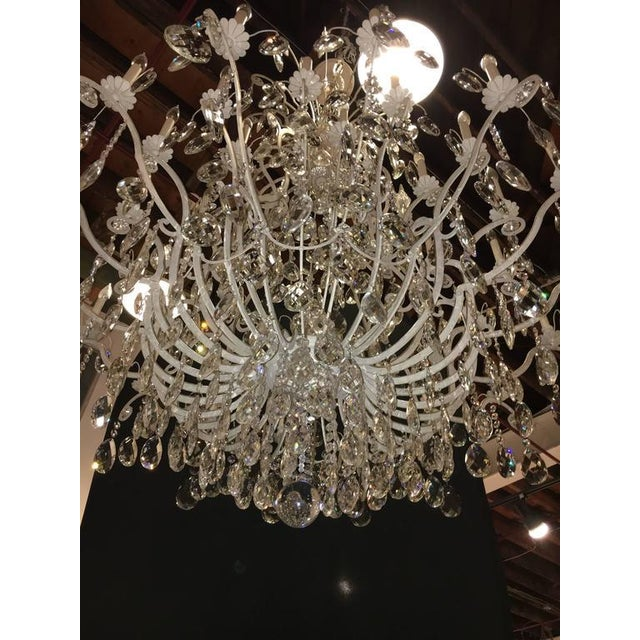 1970s Monumental German Schonbek Painted Brass and Crystal Chandelier For Sale - Image 5 of 11